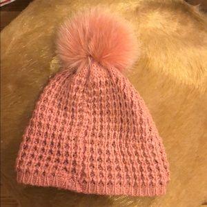 Pink Puff Fox fur hat